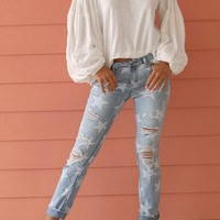 I'm Blushing Distressed Star Denim