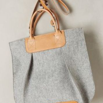 Frankie Pleated Tote by Graf & Lantz Grey One Size Bags