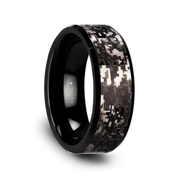 Digital Camo Black Tungsten Anniversary Ring