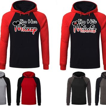 Mickey Minnie Couple Matching Love Set Raglan Hoodie