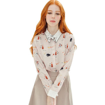 new Spring Autumn Elegant Print women blouse long sleeve cat Turn-down Collar Cute Shirts casual Tops