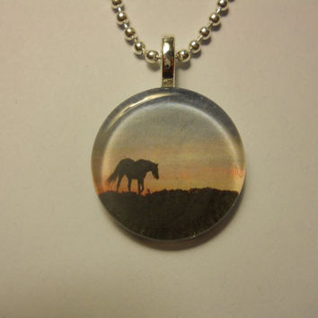 Equestrian Glass Tile Pendant