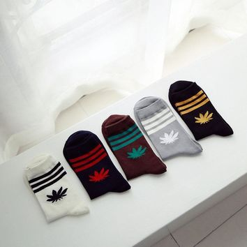 Men's Socks Famous Weed Stripes Socks For Men Women Winter And Autumn Warm Cotton Casual Tube Sock Meias Calcetines Hombre
