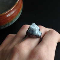 Raw Blue Stone Ring - Blue Calcite Statement Ring - Unique Ring - Copper Ring - Semiprecious Stone Ring - SIZE 7.5