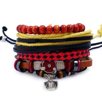 Naruto Sasauke ninja 4Pcs/Lot Vintage  Leather Men's Bracelets & Bangles Punk Women Beads Bracelet Male Braclet Female Jewlery Pulseiras AT_81_8
