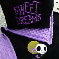 NIGHTMARE Before ChRiSTmAS SWEET DReaMS & JaCK SKeLLiNGToN EMBROiDERED  TwO Sides BABy PiLLOW CUSToM + BLANKeTS AVAiL Designs by Sugarbear