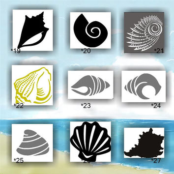 SEASHELLS vinyl decals - 19-27 - custom car window stickers
