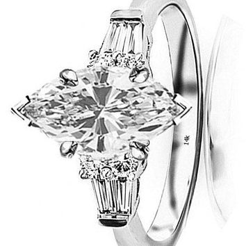 .1.1 Carat t.w. GIA Certified Marquise Cut 14K White Gold Prong Set Round and Baguette Diamond Engagement Ring (I-J Color VS1-VS2 Clarity)