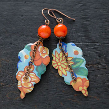 Gypsy Tin Earrings, Floral Tin Earrings with Orange Stone Beads and Antique Copper Chain, Gypsy Tin Jewelry, Colorful Floral Jewelry