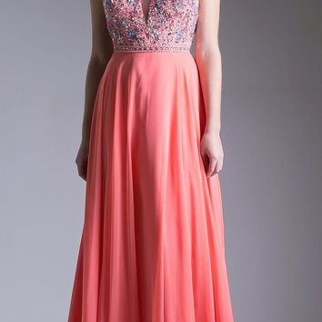 Dark Coral A-line Beaded Long Prom Dress with Strappy Open Back