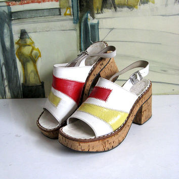 Vintage Cork Platforms 1970s Patchwork White Slingback Open Toe Sandal Shoes 37E