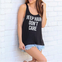 """Jeep Hair Don't Care"" Letter Print Sleeveless Shirt"