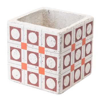 Cement Squares Planter Red And Orange