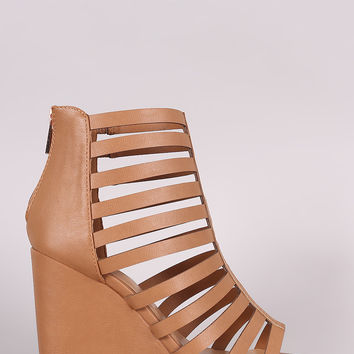 Bamboo Strappy Caged Open Toe Wedge