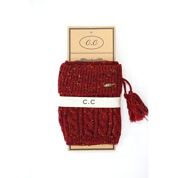 Cable Knit Confett Boot Cuff with Tassle- Burgandy