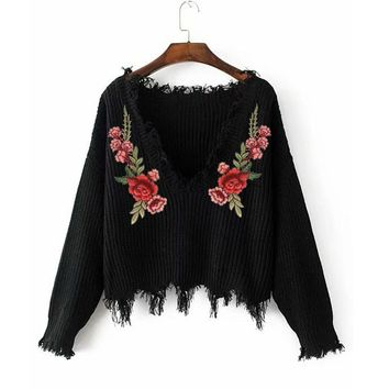 Floral Embroidered V Neck Sweater 2 Colors