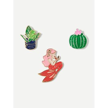 Mermaid & Cactus Brooch Set 3pcs