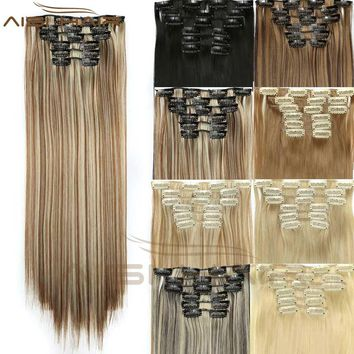 16 Clips In Hair Extensions 6pcs/set Hairpiece Synthetic Straight Hair Extension