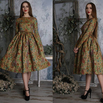 Green olive,floral print, gobelin,prom,pageant,tea party,engagement,bridesmaid,midi,tea length,knee length,modest,dirndl,jacquard,dress