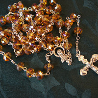 Rosary Gold Czech Fire Polished Rondelle Glass Beads Silver tone