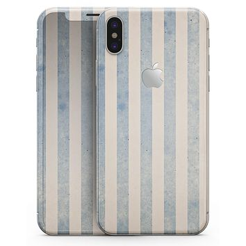 Faded White and Blue Vertical Stripes - iPhone X Skin-Kit
