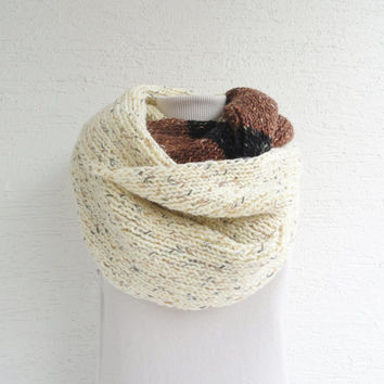 OOAK Knit Infinity Scarf Oversized Chunky Hooded Thick Knit Scarf Cream, Brown, Black