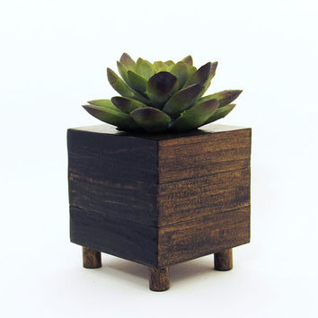 Small Wood Succulent Planter Box, Modern Cube Plant Holder, Indoor Garden Planter, Cactus Planter, Office Planter, Home Decor, Raised