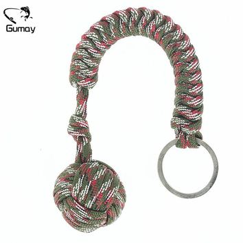 Gumay 1pc Heavy Steel Steel Ball Inside Monkey Fist Security for Self Defense Tent Lanyard Fist Survival Key Chain Tool