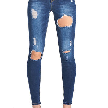 The All Torn Up- Medium Wash Distressed Skinny Jeans