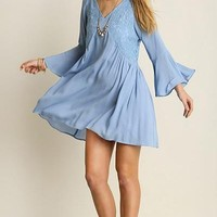 Blue by the Competition Powder Blue Lace Shift Dress