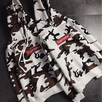 Supreme Fashion Camouflage white Hooded Sweater