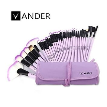 32pcs Vander Professional Makeup Brushes Premium Cosmetics Brushes Set Synthetic Kabuki Foundation Blending Blush Eyebrow Shadow Eyeliner Powder Brush Kit+Makeup Brush Bag Pouch(purple)