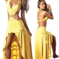 Sexy Long Yellow Dress - Latin Salsa Style
