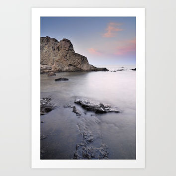 Silver sea at sunset Art Print by Guido Montañés