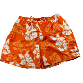 Vintage 1990s 90s Hibiscus Flower Swim Trunks in Orange/White Mens Swimwear Size XL