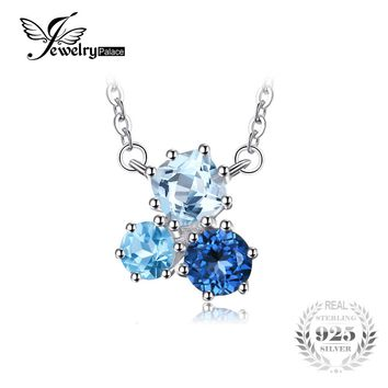 JewelryPalace 1.7ct Genuine Multi London Blue Topaz Pendant Necklace 925 Sterling Silver 45cm Box Chain Women Fashion Jewelry