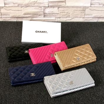 chanel 2017 fashion Diamond lattice & twill leather Wallet [100107812879]
