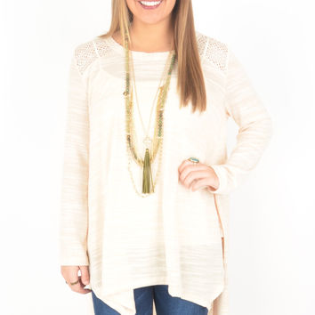 Cream Marled Knit Top with Open Knit Back Detail and High-Low Hem