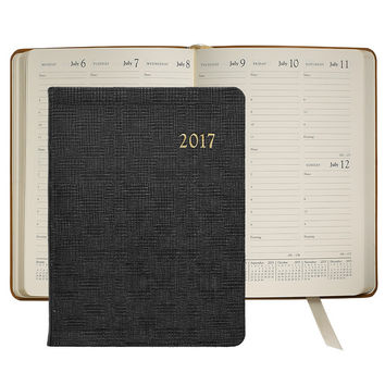 2017 Desk Diary  Black Embossed Plaid Leather