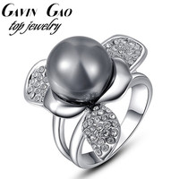 9$ Free Shipping! ROXI Fashion Black Simulated Pearl Ring Platinum White Gold Plated Rings Jewelry 2010256520