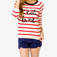 Nautical C'est La Vie Sweater