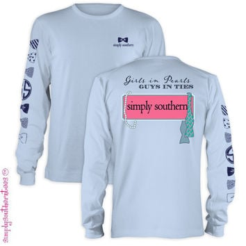 Simply Southern Collection Girls in Pearls Girlie Bright Long Sleeve T Shirt
