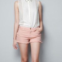 SHEER BLOUSE WITH PEARLS ON THE COLLAR - Shirts - Woman - ZARA United States
