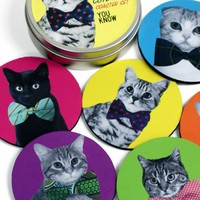 Handmade Gifts | Independent Design | Vintage Goods Cats with Bow Ties Coaster Set - New Arrivals