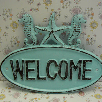 Seahorse Starfish Welcome Cast Iron Door Sign Wall Decor Light Blue Distressed Shabby Coastal Cottage Chic Nautical Beach Summer House