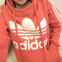 Adidas: Printed letters hooded fleece suit sports leisure