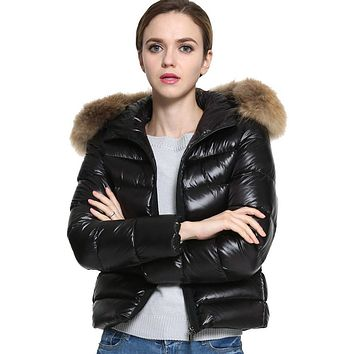 2017 Winter New Womens Cotton Black Warm Faux Fur Collar Hooded Parka Lady Cotton Padded Overcoat Quilted Jacket Oct14