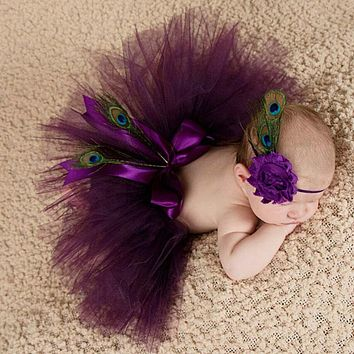 Newborn Baby Props Baby Photo Props Peacock Handmade Peacock Feathers Beanie Cap