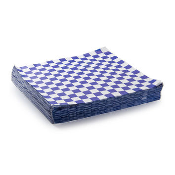 24 Blue and White Checker Sandwich Wrap, Food Basket Liner, Food Safe Paper, Checkered Paper, Country Theme Picnic Paper