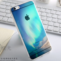 Fashion Thin Soft Silicone Mountains Transparent Back Cover Case For Apple iPhone SE 5s / 6 6s / Plus
